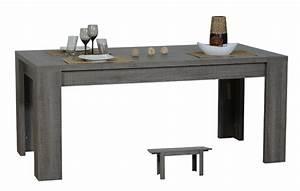 Table Extensible Grise : table repas extensible rectangulaire lathi 56 chene gris fonce ~ Teatrodelosmanantiales.com Idées de Décoration