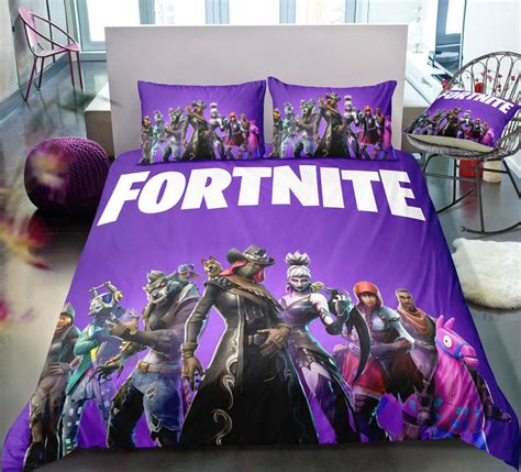 purple fortnite gamer bedding set duvet cover