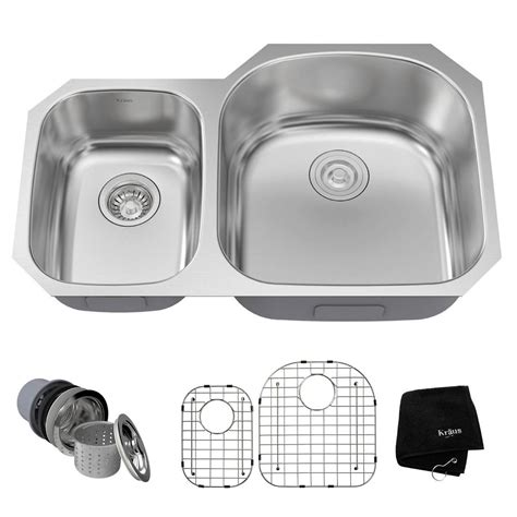 stainless steel kitchen sinks kraus undermount stainless steel 32 in 40 60 basin 8231