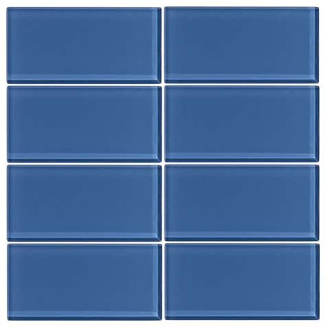 glass subway tile denim 3 quot x6 quot 1 square foot modern