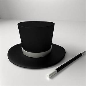 Magician Hat And Wand 3D Model .3ds .fbx .blend .dae ...