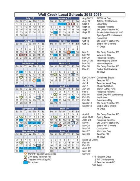 wolf creek local school district calendar publicholidaysus