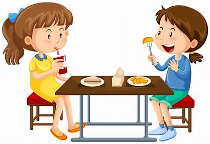 Eating Table Picnic Vector Clipart Illustration Canteen