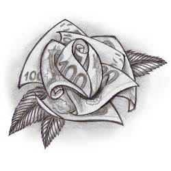 Money Rose Tattoo Drawing
