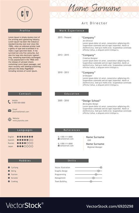 creative resume template minimalist style vector image