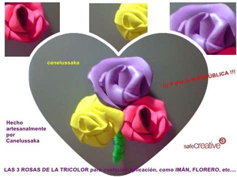 Imán para frigorífico las tres rosas de la tricolor hechas