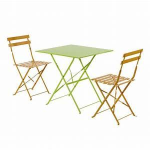 Table Pliante Metal : table de jardin pliante m tal camargue 70 x 70 cm ~ Teatrodelosmanantiales.com Idées de Décoration