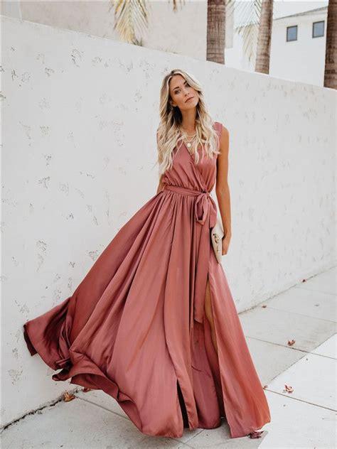 Bohemian pink V-neck sleeveless high-open hem dress dress ...