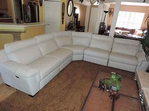 natuzzi julius 5pc triple electric reclining optic white With white leather sectional sofa with recliner