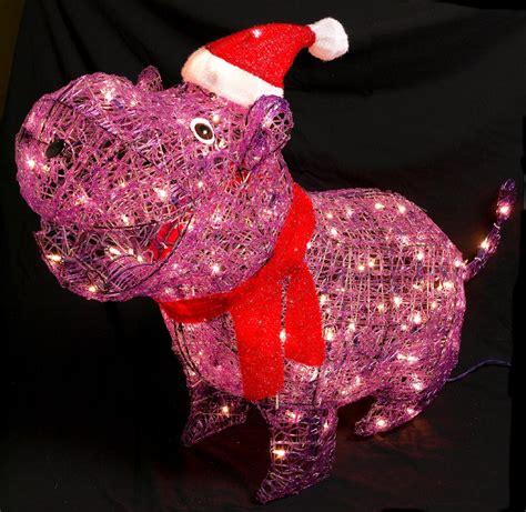 trim  home  lighted christmas acrylic purple hippo