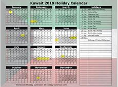 Kuwait 2018 2019 Holiday Calendar