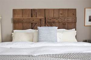 diy reclaimed barn door headboard bob vila With barn door style headboard