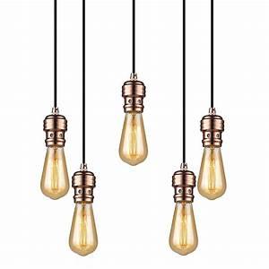 Suspension Ampoule Vintage : suspension oros cuivre 5 lumi res sans ampoule e27 592654 market set ~ Teatrodelosmanantiales.com Idées de Décoration