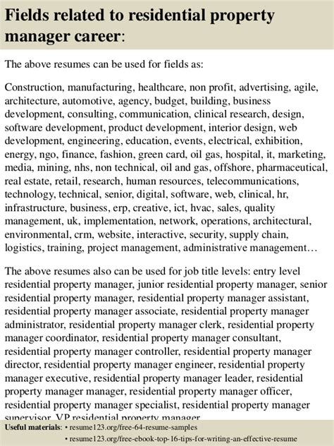 top 8 residential property manager resume sles