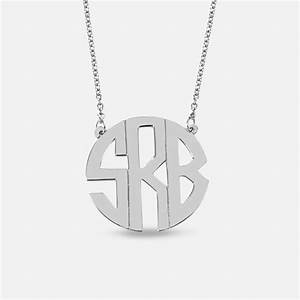 silver handmade monogram necklace block letters monogram With block letter monogram necklace