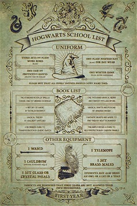hogwarts  year essentials harry potter poster buy