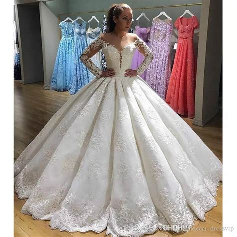 2018 Designer Luxury Lace Ball Gown Wedding Dresses Long