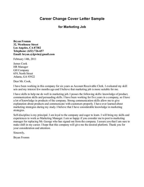 Career Cover Letter by Cover Letter Template Career Change Resume Cover