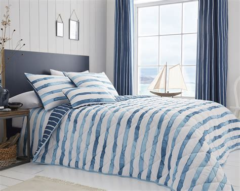 Blue Quilted Bedspread by Pacific Blue Quilted Bedspread Harry Corry Limited