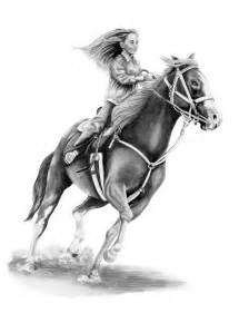 Drawing Horse Barrel Racing Horses