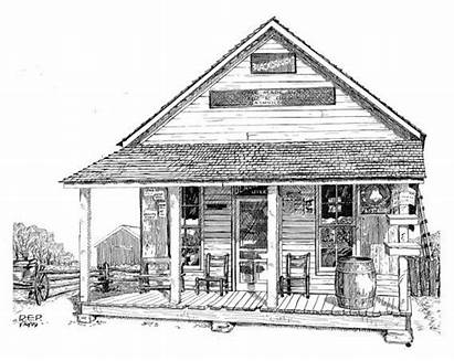 Country Drawing Farm Houses Stores Drawings Pencil