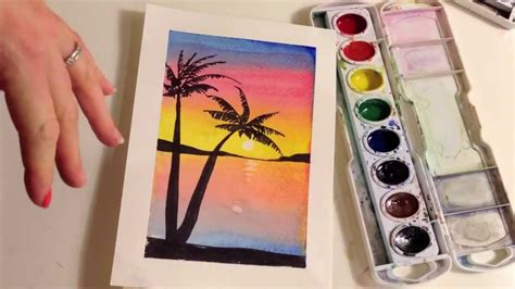paint  sunset  palm trees  watercolor youtube