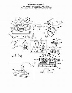 Kenmore Model 11627914700 Vacuum  Canister Genuine Parts