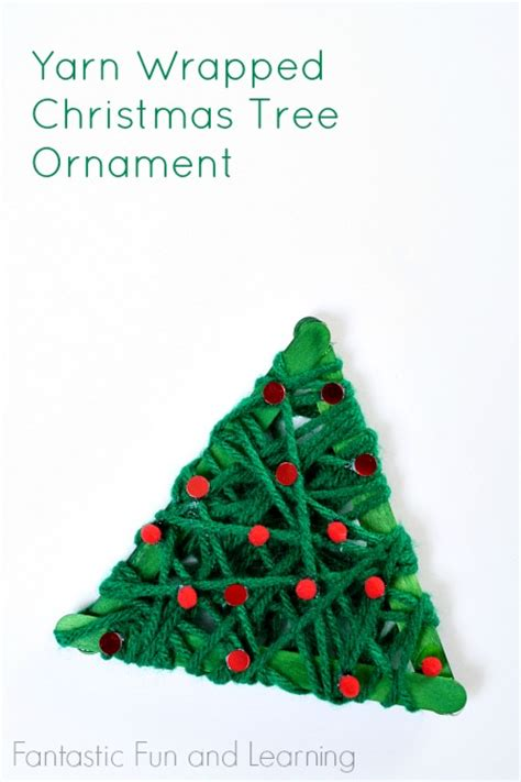 ornament craft for 10 year old yarn wrapped tree ornament