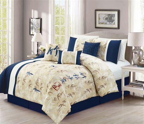 7 piece flint crepe navy comforter set
