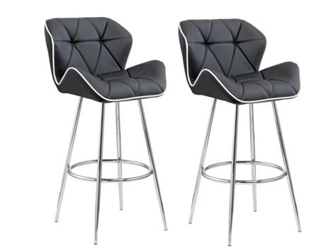 lot de 2 tabourets de bar lizzy simili coloris noir