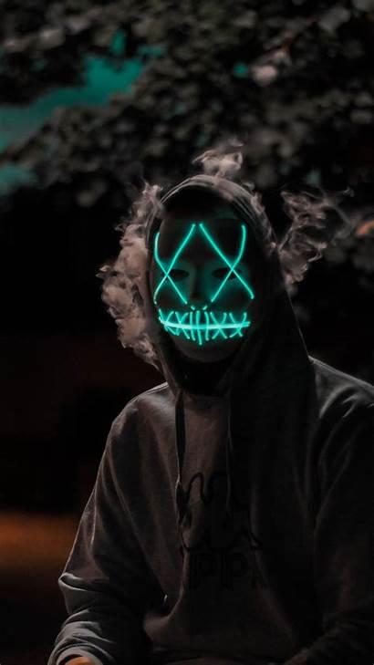 Purge Mask Face Halloween Led Wallpapers Dark