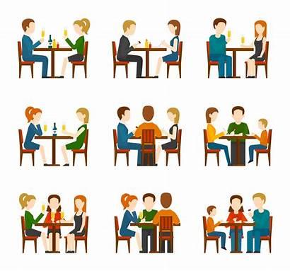 Restaurant Clipart Vector Eating Conversation Illustration Talking