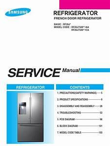 Samsung Rf26j7500 Rf26j7500sr Service Manual  U0026 Repair