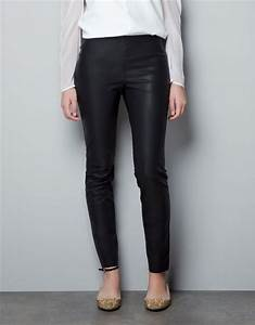 Zara Leathereffect Leggings in Black | Lyst