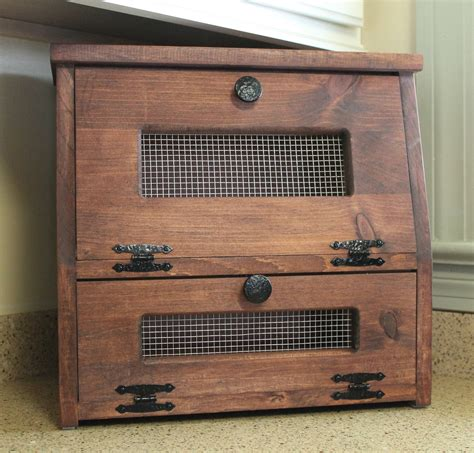 kitchen counter storage box bread box rustic wooden vegetable potato bin storage 6641