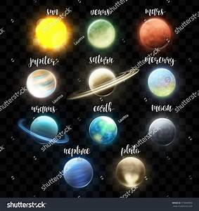 Royalty-free Set realistic bright planets. Light ...