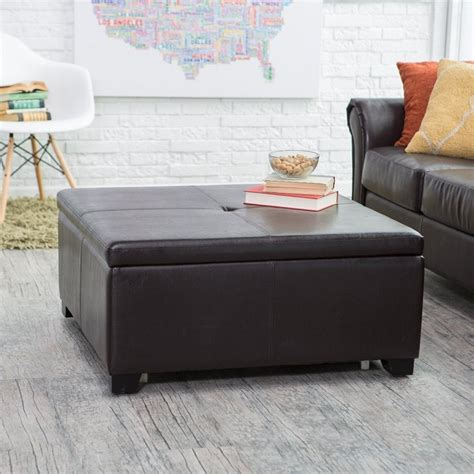 This ottoman coffee table is a large square, resting on 4 tapered legs, which, just as the rest of the frame, are made of sturdy wood. Small Square Ottoman Coffee Table - Loccie Better Homes Gardens Ideas
