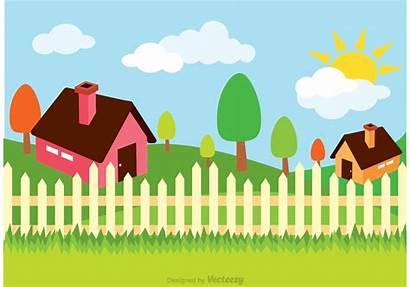 Illustration Clipart Vector Fence Farm Painting Cartoon