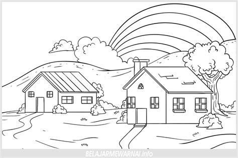 22 mewarnai gambar rumah gradasi