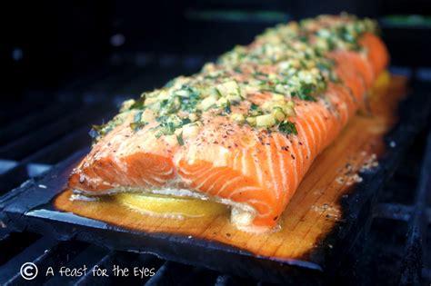 bbq salmon a feast for the eyes cedar plank grilled salmon with tarragon herbs