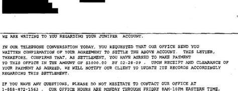 juniper bank sample debt settlement offer letter leave