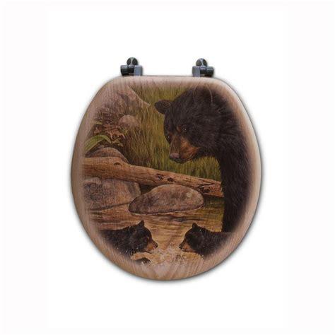 bear creek gang  closed front wood toilet seat  oak