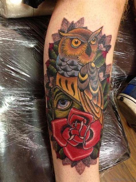 elegant owl tattoos  leg