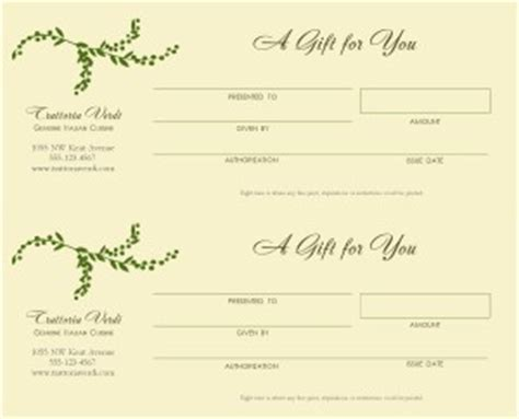Restaurant Gift Certificate Template by Best Photos Of Blank Gift Certificates For Restaurants