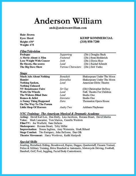 impressive actor resume sample