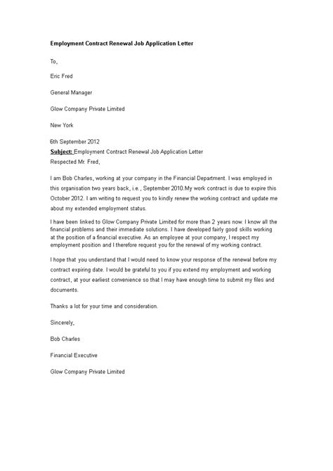 Employment Contract Renewal Job Application Letter - How
