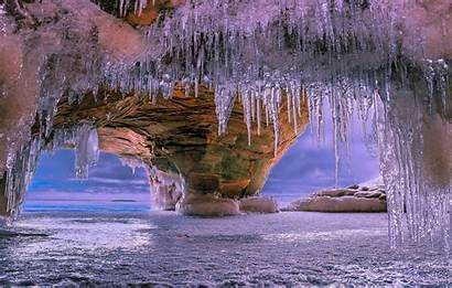 Icicles Cave Winter Magic Season Wallpapers Ice