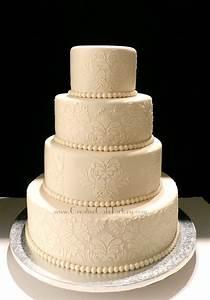 Ivory Damask Wedding Cake - CakeCentral com