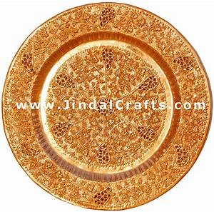 Handcarved Copper Decorative Plate Wall Hanging India