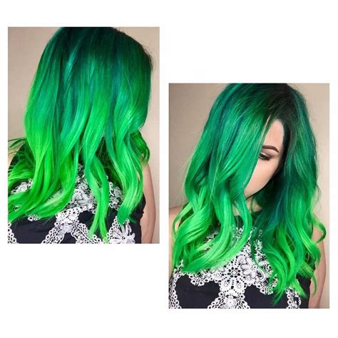 Dark And Light Green Neon Hair Dye Ideas For Women With